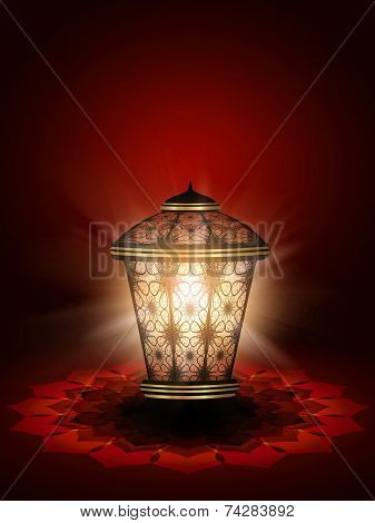 Diwali Lantern Shining Over Dark Red Background