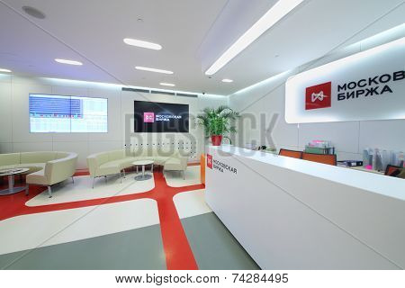 MOSCOW, RUSSIA - APR 10, 2014: Modern interior reception Moscow stock exchange
