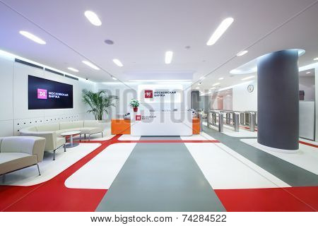 MOSCOW, RUSSIA - APR 10, 2014: Reception area for visitors to Moscow Exchange. It is largest in Russia in terms of trading and number of clients Exchange created in 2011