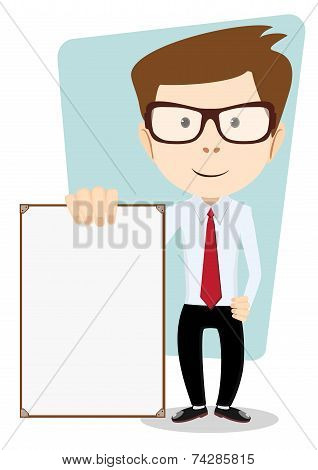 Cartoon Business man explaining and pointing at blank white board, placard.. Stock Vector  Illustrat