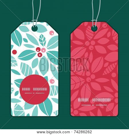 Vector christmas holly berries vertical round frame pattern tags set