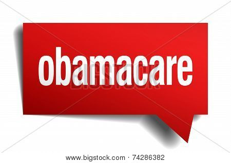Obamacare Red 3D Realistic Paper Speech Bubble