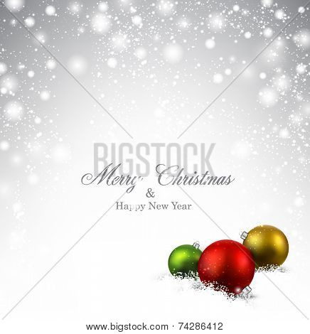 Silver defocused christmas background. Vector illustration.