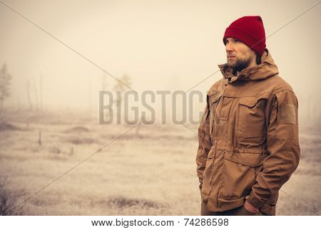 Young Man wearing winter hat clothing outdoor
