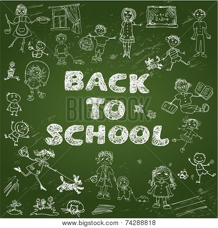 Chalkboard With Green Surface. Set Of Kid's Drawing - Childish Style Picture And Handwritten Words B