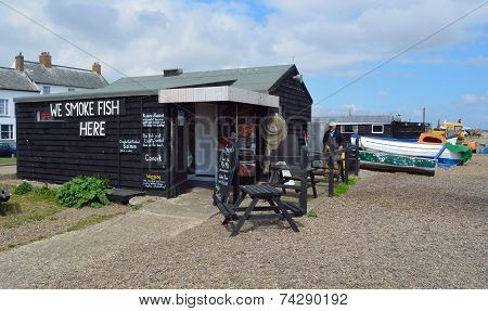 Hut selling fresh fish on Aldeburgh beach.