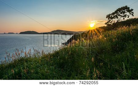 sunset view of russian isle Putyatin