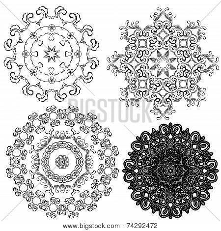 Set Of Circle Backgrounds, Guilloche Ornamental Elements For Certificate, Money, Diploma, Voucher, D