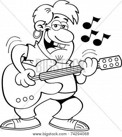 Cartoon Man Playing a Guitar