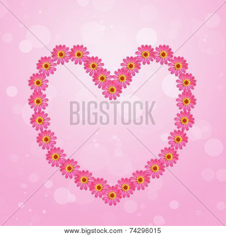 Pink Zinnia Flower Heart On Colorful Background