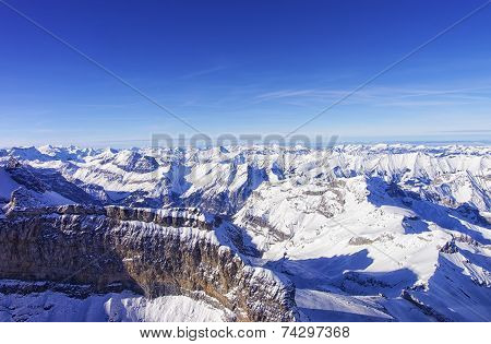 Mountain Wall In Jungfrau Region Highlands Helicopter View In Winter