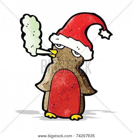 cartoon christmas robin smoking marijuana