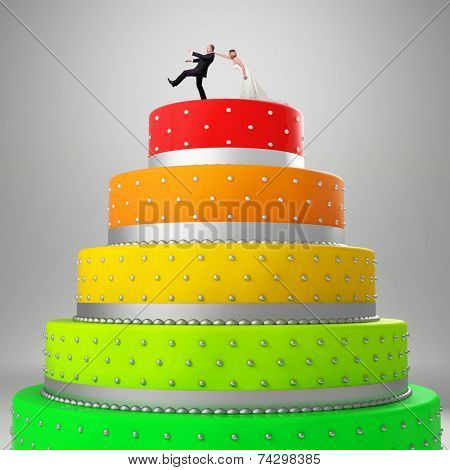 wedding cake with funny caketopper