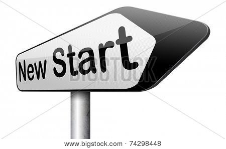 new start again or chance back to the beginning and play game road sign arrow