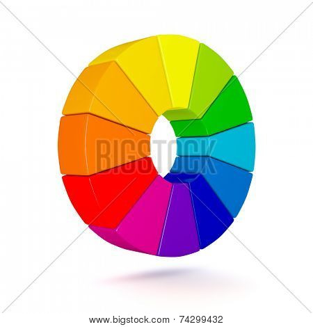 3D Color chart isolated on white background