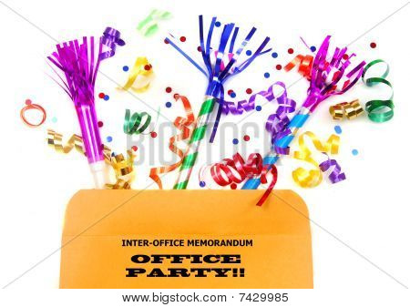 Office envelope with party favors in it