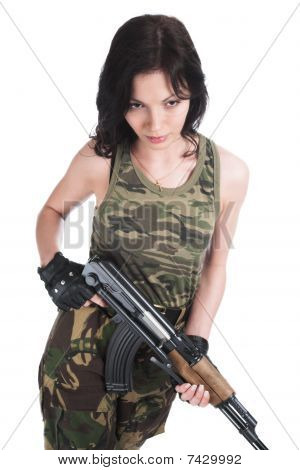 The Beautiful Girl With A  Automatic Rifle