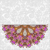 pic of lace  - floral round pattern in ukrainian oriental ethnic style for your greeting card or invitation - JPG