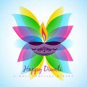 pic of diya  - vector diwali diya with colorful leaf - JPG