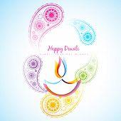 stock photo of diya  - vector beautiful diwali diya background - JPG