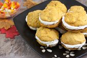 picture of pumpkin pie  - Pumpkin flavored whoopie pie cakes with whipped vanilla cream filling - JPG