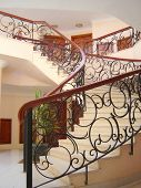 pic of bannister  - Interior of hotel with stairway and banisters - JPG