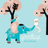 foto of life after death  - Goodbye little boy condolences after death baby son postcard cover design in vector - JPG