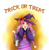 picture of manga  - Pretty witch of Halloween in Japanese manga style with text create by vector - JPG