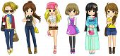 foto of jeans skirt  - Modern girl fashion cartoon collection set 2 create by vector - JPG