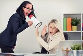 picture of yell  - Mad boss yelling at employee on megaphone - JPG