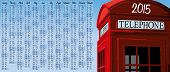 picture of phone-booth  - 2015 calendar with british red phone booth  - JPG