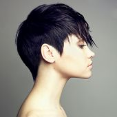 stock photo of beautiful woman face  - Portrait of beautiful sensual woman with elegant hairstyle - JPG
