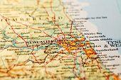 picture of tyne  - Newcastle upon Tyne England on atlas world map - JPG