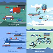 stock photo of air transport  - Transportation flat set with ground air water green transport isolated vector illustration - JPG