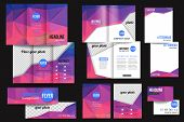 stock photo of brochure design  - Set of corporate business stationery templates - JPG