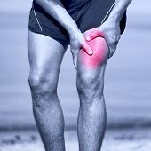 Постер, плакат: Muscle sports injury of male runner thigh Running muscle strain injury in thigh Closeup of runner