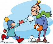 stock photo of father time  - Cartoon Illustration of Father and Little Son Throwing Snowballs and Having Fun on Winter Time - JPG