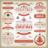 stock photo of merry christmas text  - Christmas decoration vector design elements - JPG