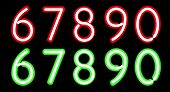 image of neon green  - Vector Red and Green Neon digits - JPG