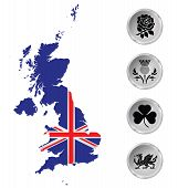 image of scottish thistle  - Flag of the United Kingdom of Great Britain and Northern Ireland overlaid on outline map and national emblem buttons isolated on white background - JPG