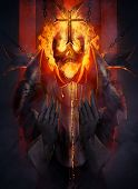 picture of dread head  - Skeleton fire head knight praying the cross illustration - JPG