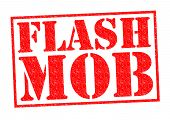 pic of over counter  - FLASH MOB red Rubber Stamp over a white background - JPG