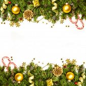 image of candy cane border  - Christmas tree branches with golden baubles - JPG