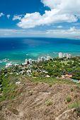 foto of waikiki  - Aerial view of Honolulu and Waikiki beach from Diamond Head  - JPG