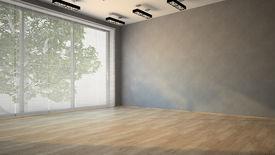 stock photo of louvers  - Empty room with parquet floor 3D - JPG