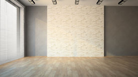 picture of louvers  - Empty room with brick wall and jalousie - JPG