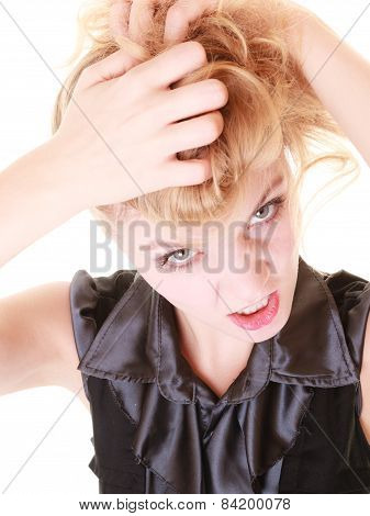 Angry Furious Woman Pulling Her Messy Hair