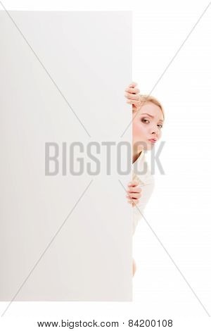Businesswoman Hiding Behind Blank Copy Space Banner
