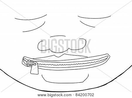 Outline Of Man With Zipper On Mouth