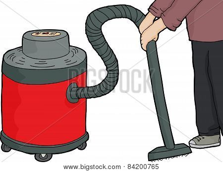 Worker Using Wet-dry Vacuum